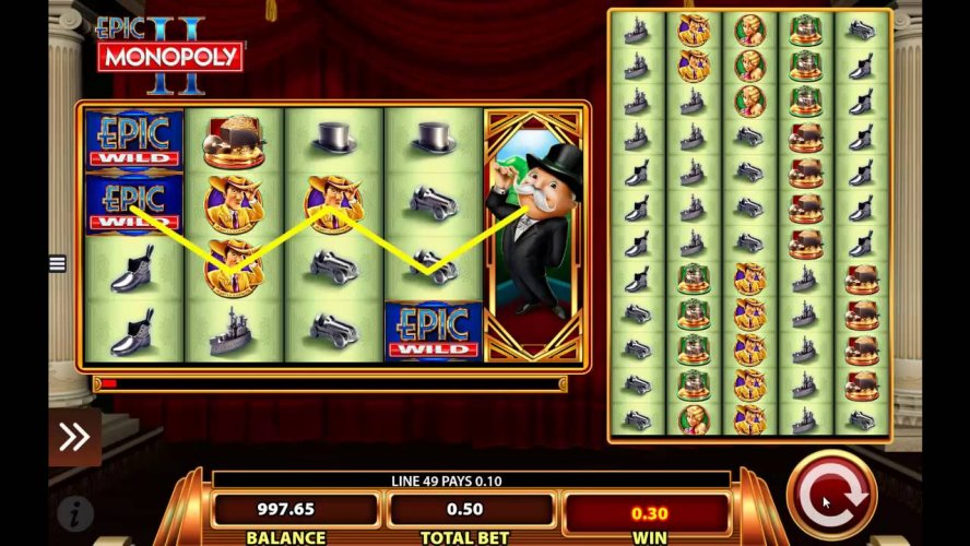 Epic Monopoly 2 Video Slots Features WMS Colossal Reels
