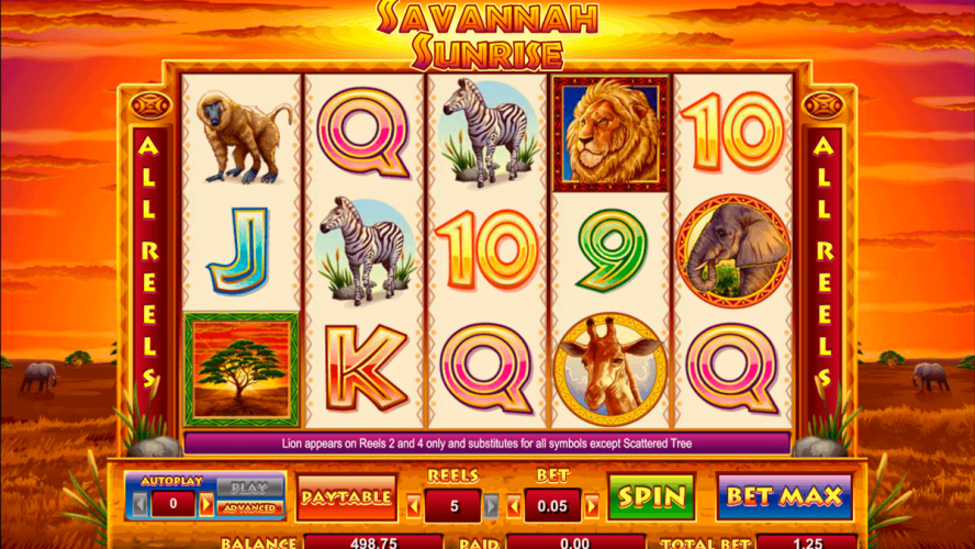Savannah Sunrise Online Casino Slots Game By Cryptologic